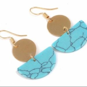 NWT Turquoise and Gold Marble Dangle Earrings